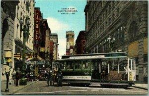 1940s San Francisco, California Postcard CABLE CAR Street Scene KROPP Linen