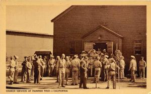 Church Services Hammer Army Air Field Fresno California WWII postcard