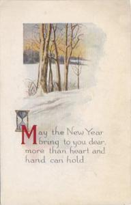 New Year Angel Hour Glass and Landscape Scene
