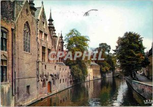 Modern Postcard Brugge green pier and palace franc