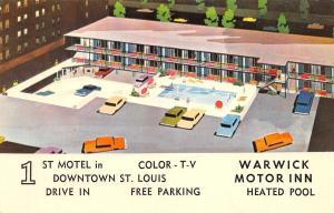 St Louis Missouri~Warwick Motor Inn~1960 Postcard