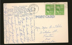USA Postmark 1949 Roanoke VA Hotel Roanoke Virginia Linen Postcard