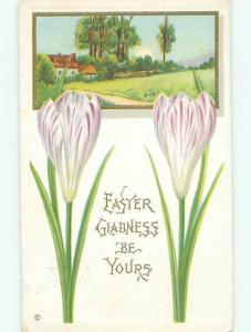 Divided-Back easter PRETTY PURPLE FLOWERS AND PASTURE W7336