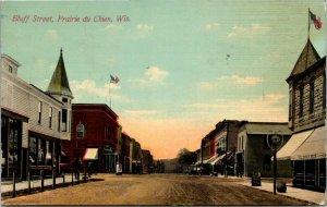 Postcard WIS Prairie du Chien Bluff Street - Street View, Stores - 1914 A12