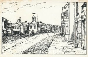 YORKSHIRE, England, 1940-60s; High Street looking south, Line Drawing