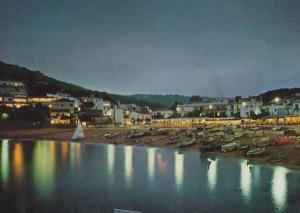 Tamariu At Night Illuminations Costa Brava Spain Spanish Postcard
