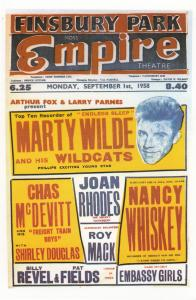Marty Wilde Chas McDevitt Live Finsbury Park London Empire Theatre Poster Pos...