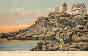 York Maine~Nubble Light House~Keeper Cottage~Victorian Woman in Rocks~1907