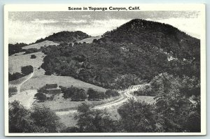 VTG Postcard CA California Topanga Canyon Scene Valley Brush Dirt Road Farm A5