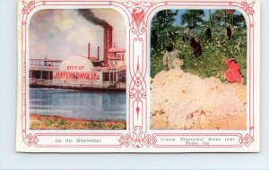 Jeffersonville Steam Boat Cotton Picking Plantation Rome Georgia 1909 Postcard