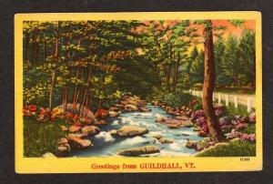 VT Greetings from GUILDHALL VERMONT Postcard Linen PC
