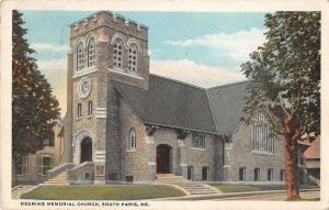 South Paris Maine view of Deering Memorial Church antique pc Y11208
