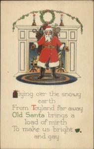 Christmas - Santa Claus From Toyland Far Away Poem c1920 Postcard