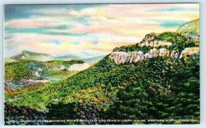 WESTERN NORTH CAROLINA, NC ~ Sunrise Rocky Mountain DEVILS COURT HOUSE  Postcard