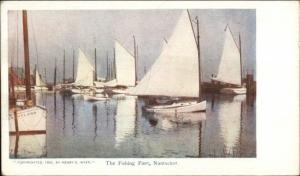 Nantucket MA Fishing Fleet Sailboats c1900 Postcard