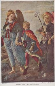 Tobit & The Archangels Florence Painting Academy Botticelli Art Italian Postcard