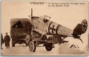 WWI Military Postcard STRAFED! A German Aeroplane Bought Down on British Front
