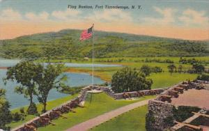 New York Fort Ticonderoga Flag Bastion 1954 Curteich