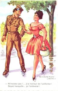 Military Humour French Soldier & Beautiful Lady Strolling