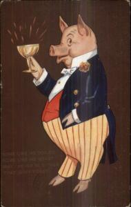 Fantasy - Pig in Colorful Tuxedo Toasting Champagne c1910 Postcard