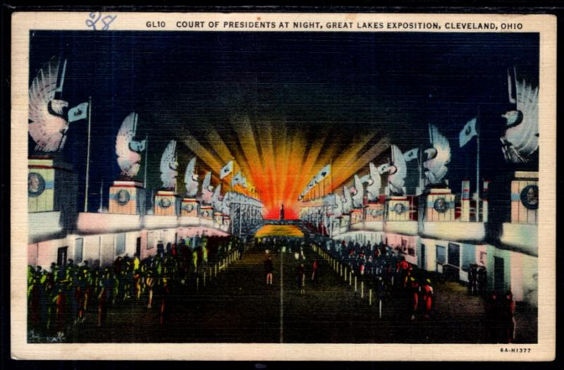 Court of Presidents at Night,Great Lakes Exposition,Cleveland,OH BIN