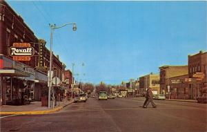 West Branch Michigan~Houghton Avenue~Abbs Hardware~7up Sign~60s Truck in Street