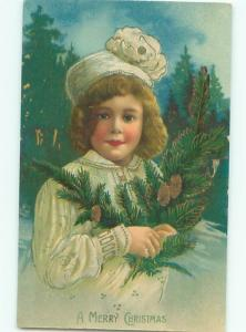 Pre-Linen Christmas PRETTY GIRL CARRYING EVERGREEN BRANCHES AB5817