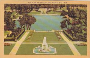 Ohio Cleveland View Of Fine Arts Garden and Lake Dexter Press