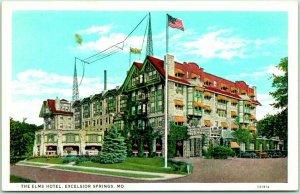 1930s Excelsior Springs, Missouri Postcard THE ELMS HOTEL Building View Curteich
