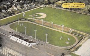 Elyria Ohio~William A Ely Stadium~Race Track~Baseball Diamond~1940s Linen Pc