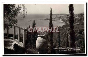Old Postcard Menton General view taken of Colombieres