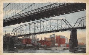 Wheeling West Virginia~View of Skyline Under the Bridges~1916 Postcard