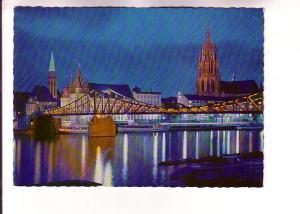 Night Lights, Main River Bridge, Cathedral, St Nicholas, Frankfurt, Germany