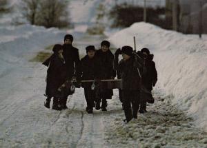 Elmira Schoolchildren Ontario Canada in Winter Returning from School Postcard