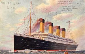 Olympic and Titanic White Star Line Postcard Post Dated Before Sinking June 2...