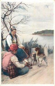 Ethnic type signed J Lalich Postcard balkan folk costumes Ragusa Herzegovina