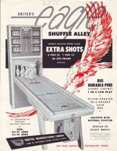 United Eagle Shuffle Alley Arcade FLYER Vintage Ephemera Puck Bowler Game 1958