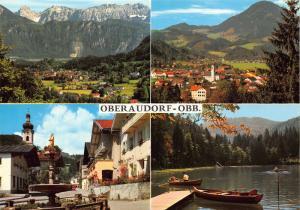 Oberaudorf am Inn Kaisergebirge Dorfplatz Church Lake Boats Postcard