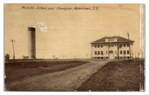 1912 Mellette School and Standpipe, Watertown, SD Postcard *6E(3)16