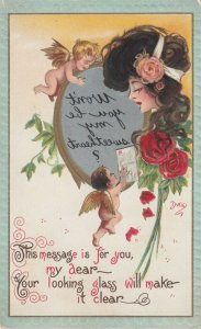 AS; DWIG, VALENTINE'S DAY, Cupids with mirror'd message, 1900-10s