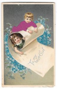 Red Applied Silk Dress Children To My Best Girl Postcard