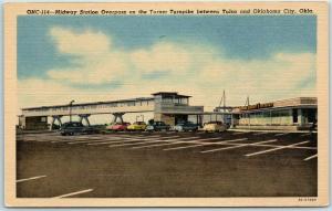 Vintage Linen Oklahoma Postcard Midway Station Overpass on the Turner Turnpike
