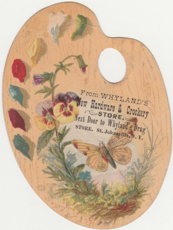 Victorian Die-Cut Trade Card - Butterfly - Whyland's Hardware - St Johnsville NY