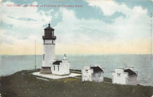 FORT CANBY LIGHT HOUSE Columbia River Entrance, WA ca 1910s Vintage Postcard