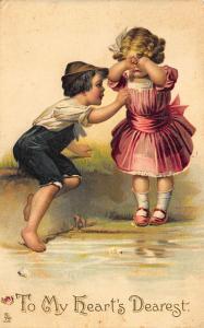 Raphael Tuck Series of Valentine Dainty Children To My Heart's Dearest Postcard