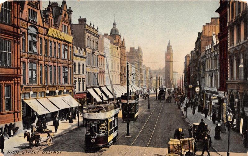 BELFAST IRELAND UK HIGH STREET~B&D KROMO SERIES POSTCARD 1900s