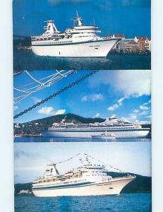 Pre-1980 Postcard Ad ROYAL CARIBBEAN CRUISE SHIP BOATS St. Thomas USVI hn3974-12
