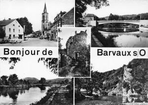 Belgium Bonjour de Barvaux Street Vintage Cars Church River Bridge Postcard