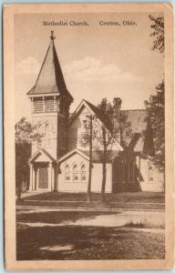Creston, Ohio Postcard Methodist Church Building / Street View c1910s Unused
