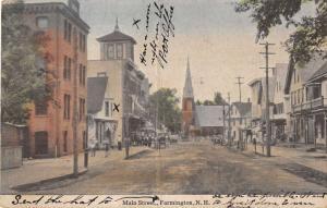 Farmington New Hampshire scenic view Main St business area antique pc Z21442